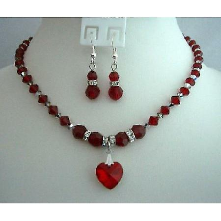 Bridal Gifts Favors Siam Red Crystals Handcrafted Custom Heart Jewelry