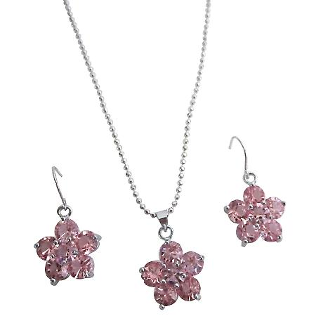 Cute Delicate Flower Jewelry Set Rose Crystal Flower Pendant Earrings Set