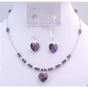 Inexpensive Valentine Jewelry Swarovski Amethyst Heart Pendant Earring