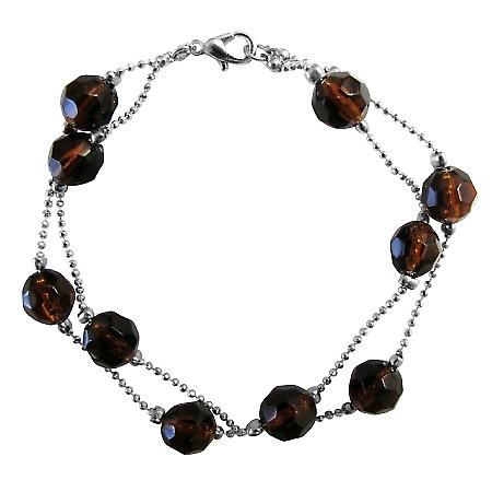 Smoked Topaz Double Stranded Bracelet Multifaceted Crystals Bracelets