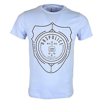 883 Police Ostend Slim Fit Round Neck Sky Blue T-shirt