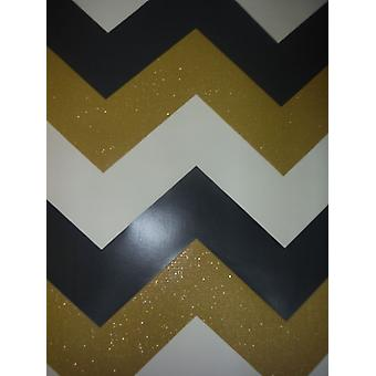 Gold Black Glitter Wallpaper Chevron Zig Zag Geometric Modern Sparkle Textured