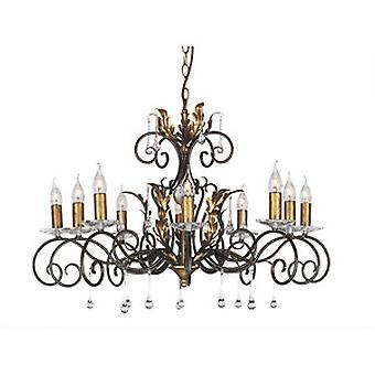 Traditional Bronze 10 Arm Chandelier with Forged Scrolls