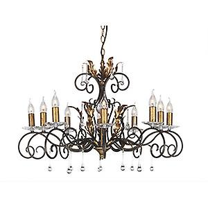 Elstead AML10 BRONZE Amarilli Traditional Bronze 10 Arm Chandelier with Forged Scrolls