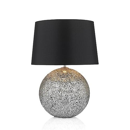 Dar GLI4232 Glitter Crackled Mosaic Ball Table Lamp With Black Shade - 35cm