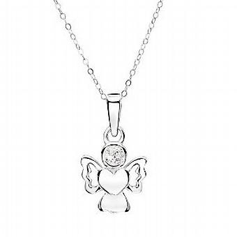 Jo chicas plata abril simulado Birthstone Angel collar