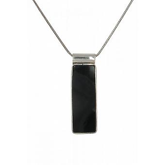 "Cavendish French Sterling Silver and Black Agate Oblong Drop Pendant with 16 - 18"" Silver Chain"