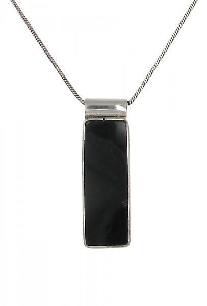 Cavendish French Sterling Silver and Black Agate Oblong Drop Pendant without Chain