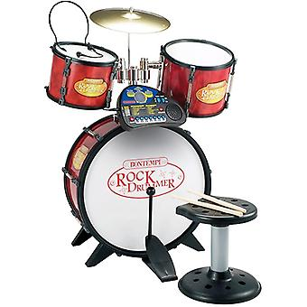 Bontempi Rock Drummer Drum Set con ritmo elettronico Tutor, sgabello e auricolare