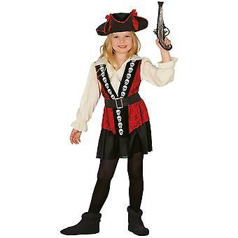 Girls Red Caribbean Pirate Fancy Dress Costume