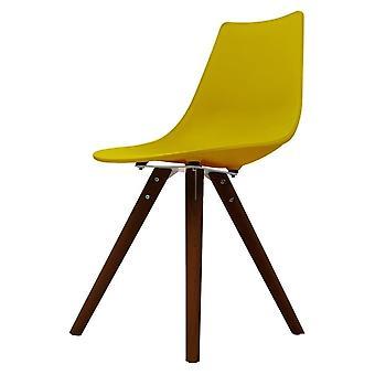 Chaise de salle à manger en plastique iconique de moutarde de fusion avec des jambes en bois foncé