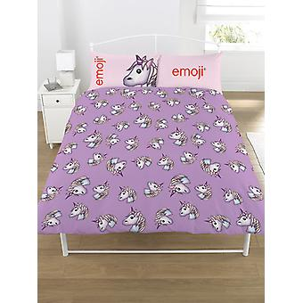 Emoji Unicorn Duvet Cover and Pillowcase Set