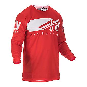 Fly Racing Red-White 2019 Kinetic Shield Kids MX Jersey
