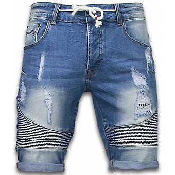 Men's short trousers-Slim Fit Ribbed Look Shorts-Blue