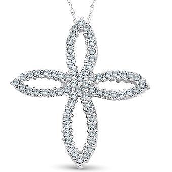 1ct 14 K witgoud Fancy Diamond Cross Necklace