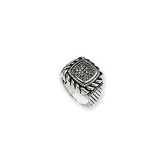 925 Sterling Silver Antique finition Avec 14k Yellow Black Diamond Ring - Taille de l'anneau: 7 à 8