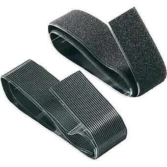 Hook-and-loop tape stick-on Hook and loop pad, Heavy duty (L x W) 1000 mm x 50 mm Black Fastech 730-330-1C 1 pair