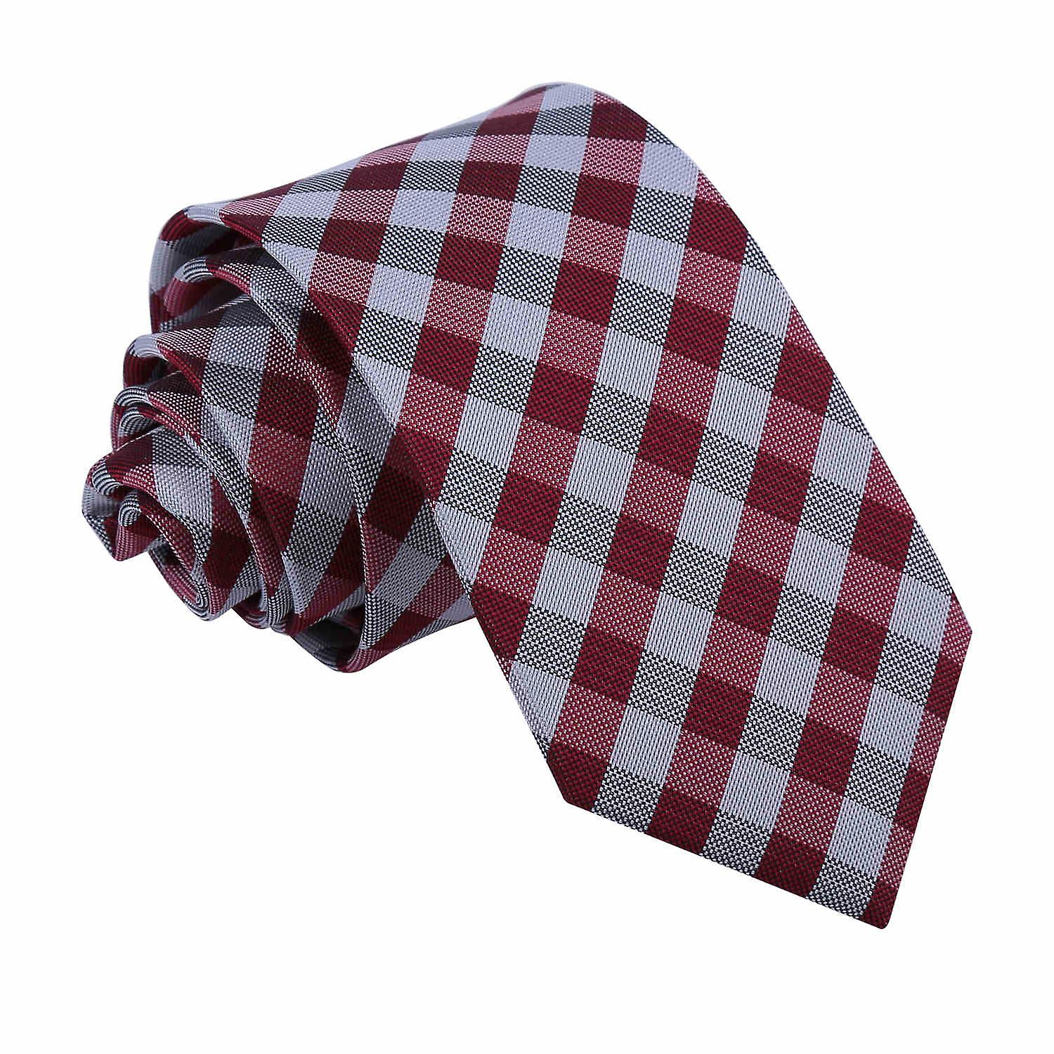 Gingham Check Dark Red Slim Tie