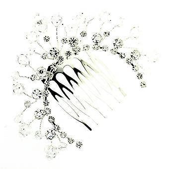 Half Moon Handmade Silver Crystal Beads Tiara Hair Comb
