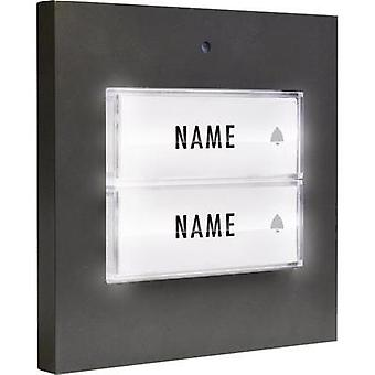 Bell button backlit, with nameplate Semi-detached m-e modern-electronics 41051 Anthracite 8-24 V AC/DC/1 A