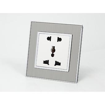 I LumoS AS Luxury Silver Satin Metal Unswitched 5 Pin Multi Plug Single Socket