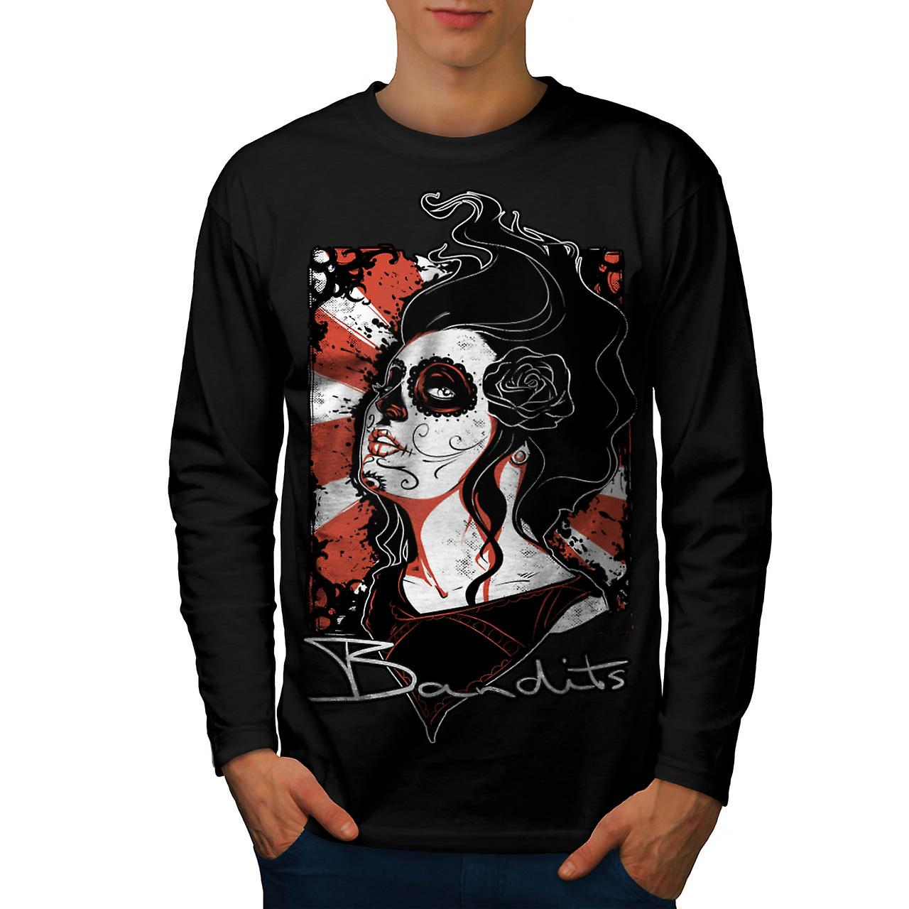 Dead Bandit Rose Gangster Men Black Long Sleeve T-shirt | Wellcoda
