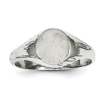 14k White Gold Solid Engravable Polished and satin for boys or girls Signet Ring - Size 5
