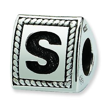 Sterling Silver Reflections Letter S Triangle Block Bead Charm