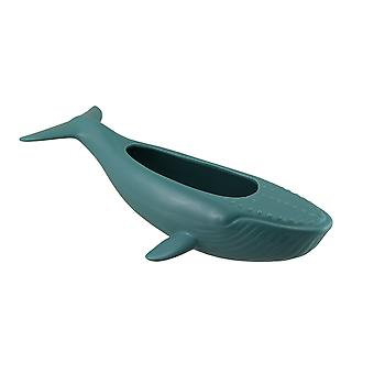 Green Ceramic Humpback Whale Statue and Planter 18 in.