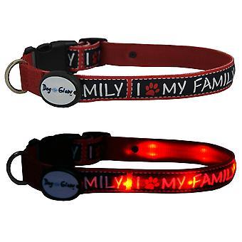 Dog E Glow I Love My Family Collar Extra Large 21-28