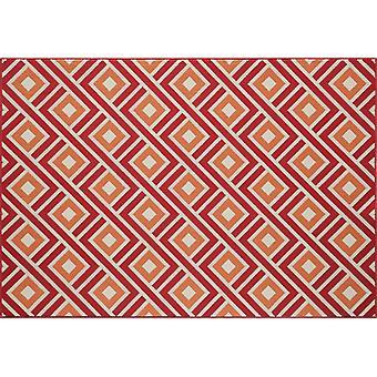 Moderne røde geometriske diamanter tæppe - Floorit
