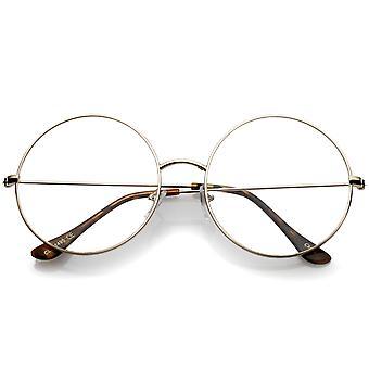 Классический негабаритных тонкий металлический каркас ясно плоский объектив круглые очки 56 мм
