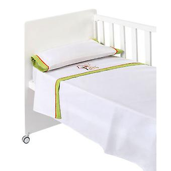 Naf Naf Crib Sheets 100% Cotton Embroidery Jungle Pistachio