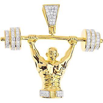 Premium Bling - Sterling Silber Bodybuilder Anhänger gold