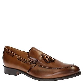 Handmade brown penny loafers for men
