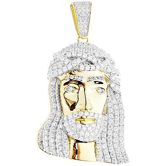 Premium Bling - 925 sterling silver Jesus head pendant gold