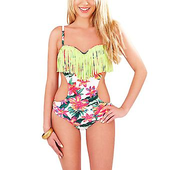 Boutique Ladies Tropical Floral Cut Out Side Swimsuit with Tassels