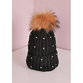 Diamanté Detachable Faux Fur Pom Pom Knitted Hat Black