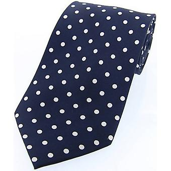 David Van Hagen Polka Dot Silk Twill Tie  - Navy/White