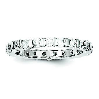 Sterling sølv poleret Cubic Zirconia Band - ringstørrelse: 6-8