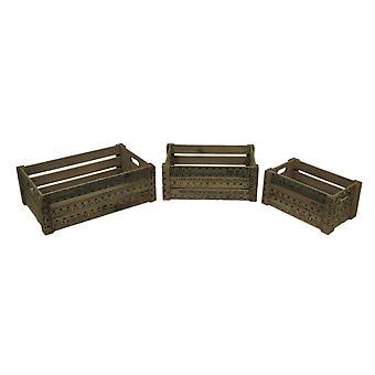 Set of 3 Measure Up Measuring Stick Vintage Look Nesting Wooden Crates