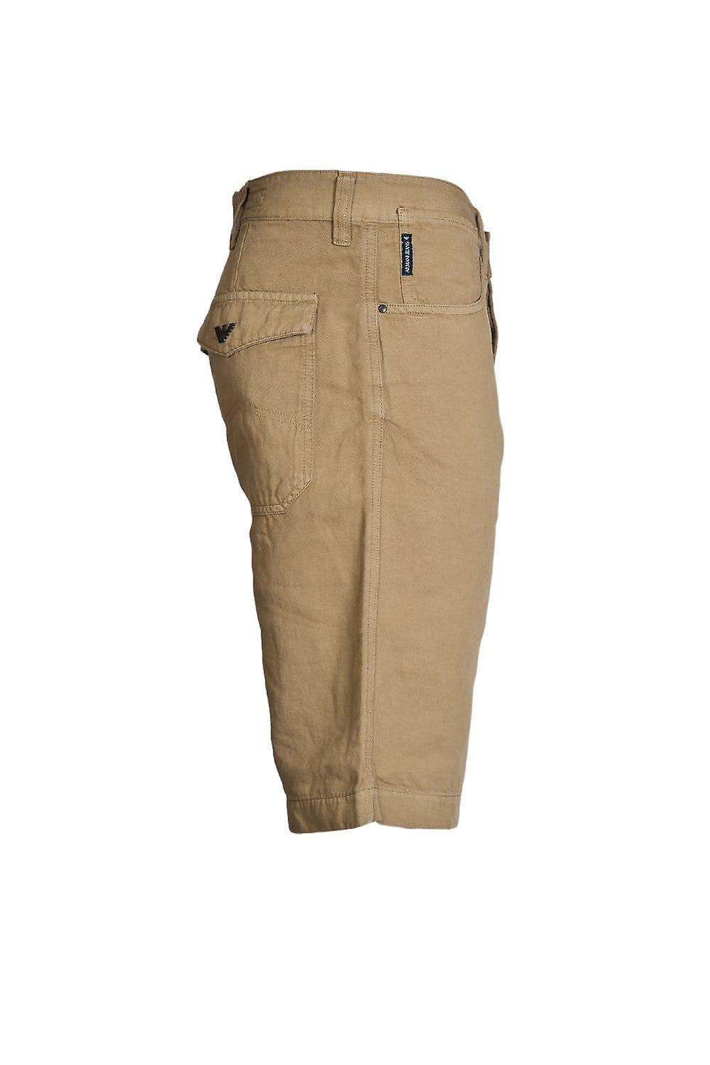 Armani Jeans Armani Jeans Designer Linen Shorts In Red  Black And Khaki Green A6S53KG