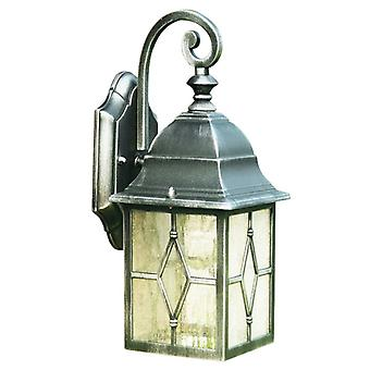 Genoa Black & Silver Outdoor Garden Wall Light With Lead Glass - Searchlight 1642