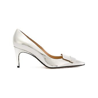 Sergio Rossi women's A78950MCAL068102 silver leather pumps
