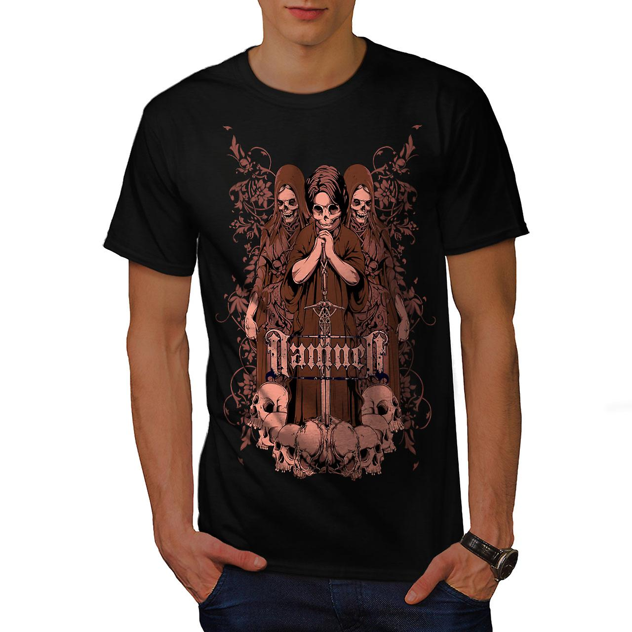 Damned Saint Horror Skull Men Black T-shirt | Wellcoda