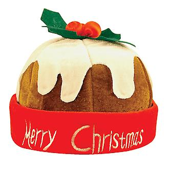 Adults Festive Christmas Pudding With Holly Hat Party Accessory