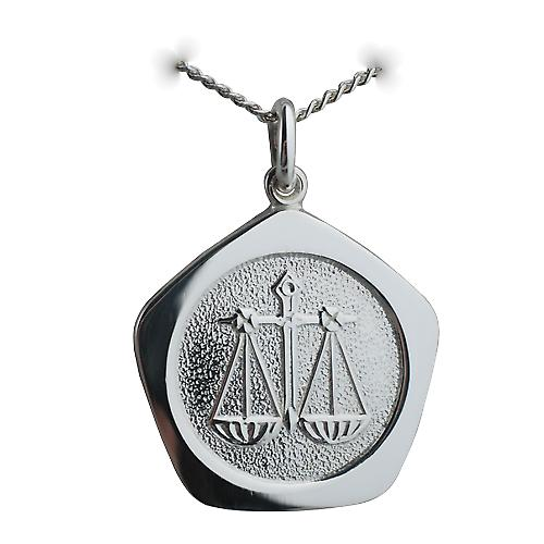 Silver 21mm five sided Libra Zodiac with a Curb chain