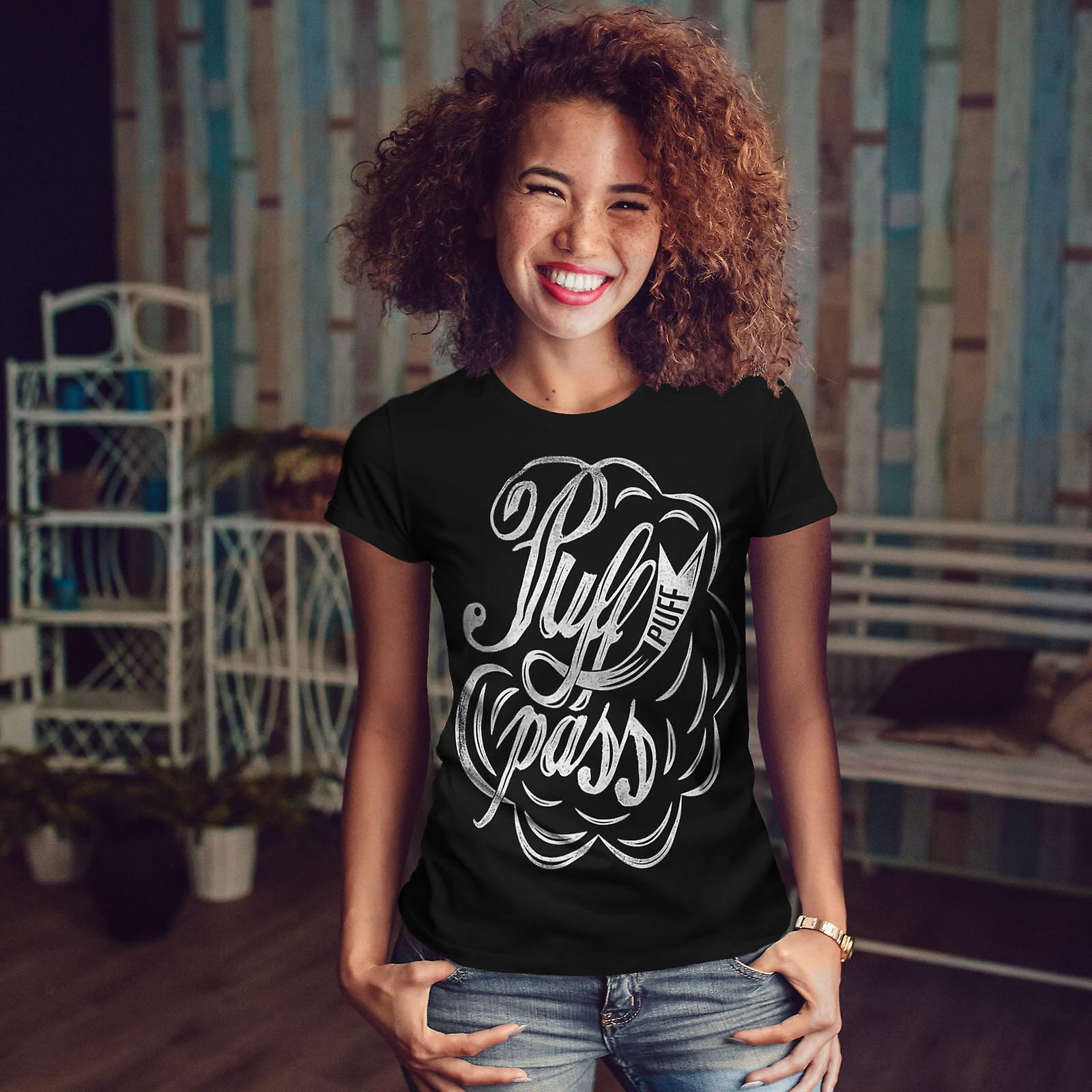 Pass Joint Weed Rasta Women BlackT-shirt | Wellcoda