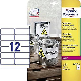 Avery-Zweckform L4776-20 Labels (A4) 99.1 x 42.3 mm Polyester fi