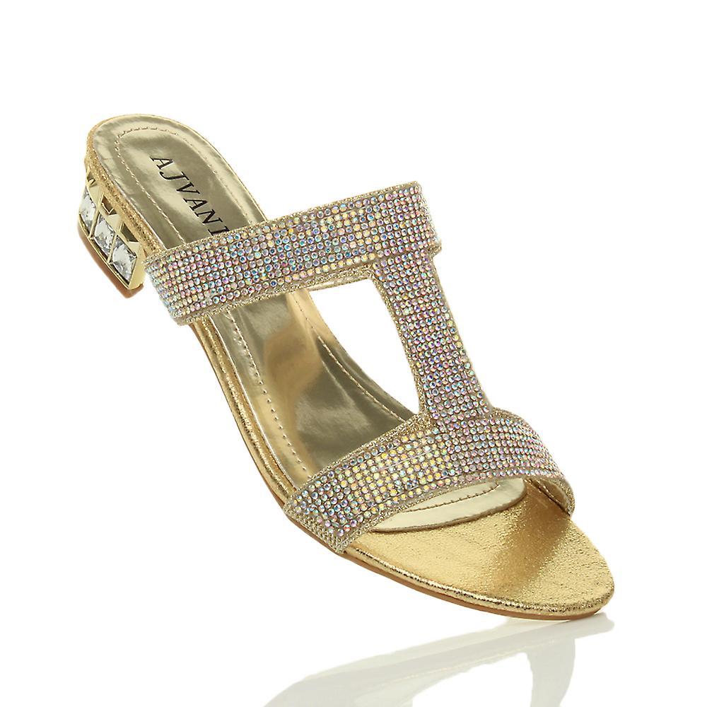 Ajvani womens low block heel diamante gem evening slip on mules flip flops sandals shoes